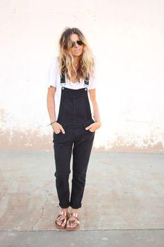 overalls and metallic birks. So cute: