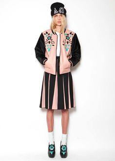 Embellishment bomber jacket and pleated skirt