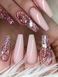 essie nail polish – lily nails – nails – shellac – nails for kids Beautiful Nailsnailsvibez By … Cute Pink Nails, Pink Glitter Nails, Pink Nail Art, Fun Nails, Pretty Nails, Clear Nails With Glitter, Glitter Rosa, Matte Nails, Summer Acrylic Nails