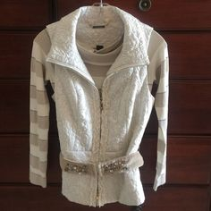 White House Black Market sweater with vest. XS/S Beautiful ivory, champagne and silver sweater/vest set. Sweater is XS and Vest is Small. Vest is belted and embellished with jewels. Lightweight sweater. White House Black Market Sweaters Crew & Scoop Necks