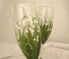 Lily of the Valley hand painted champagne flutes by DeannaBakale