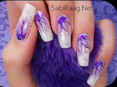 Purple Glitter Nail Paint Design