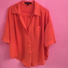 HPSheer Orange button up Great condition, no stains. Looks good with jeans and brown boots. No trades don't ask! WORK WEEK CHIC HOST PICK 9/21 Ovi Tops Button Down Shirts