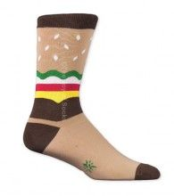 Cheeseburger socks for men by Sock It To Me.