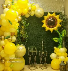 Mickey Party Decorations, Sweet Table Decorations, 1st Birthday Girl Decorations, Yellow Balloons, Big Balloons, Printed Balloons, Birthday Balloons, Balloon Flowers, Balloon Bouquet