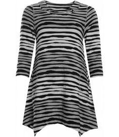 62409e73690a96 Jersey Tunika Damen Schwarz Weiß Grau gestreift bei Zimano günstig online  kaufen ✅schneller Versand ✅