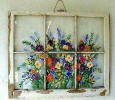 Old Windows/ Painted Windows/ Vintage Windows/ Iris/Hummingbird/Floral Scene/Window Art/ Nature Window/Daisies Old Windows Painted, Antique Windows, Vintage Windows, Painting On Windows, Vintage Doors, Antique Doors, Painting Walls, Window Pane Art, Painted Window Panes