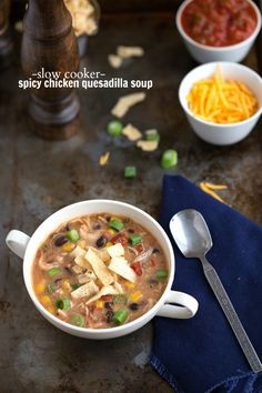 {Slow Cooker} Spicy Chicken Quesadilla Soup