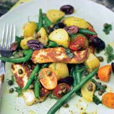 Ensalada de patatas, judías verdes y queso