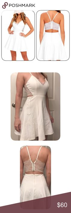 PERFECT EVENING IVORY LACE SKATER DRESS Lulus Lush Size XS, lush brand from lulus, like for price drop, I listed higher but plan to lower once I decide if I want to keep it not. Lulu's Dresses Mini