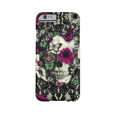 Victorian gothic lace skull with pink accents Barely There Iphone 6... ($45) ❤ liked on Polyvore featuring accessories, tech accessories, phone cases, phone, case and electronics