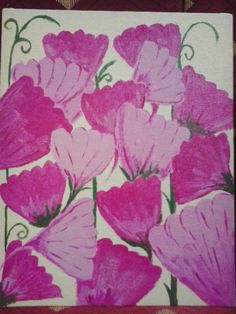 pink flowers. acrylics on canvas. four colors only. Diy Crafts, Pink Flowers, Acrylics, Colors, Creative, Canvas, Painting, Art, In Living Color