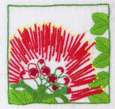 Pohutukawa embroidery kit Design size: 11 cm x 10 cm Your kit includes: natural linen/cotton mix printed with the design Needle Stitch and colour guide General embroidery instructions (Please note that threads and hoop are not included in the kit).