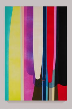BRIGHT PAINTINGS DION JOHNSON VERTICAL DRIPPING SHAPES ACRYLIC ON CANVAS
