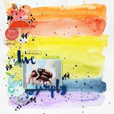 """LO """"Live simply"""" created with @studio.forty stamps and stickers #studiofortypl #studioforty #layout #scrapbooking #scrapbook @primamarketinginc #watercolors #rainbow #fall #autumn #annakomenda #moriony #skrapowisko #chesnuts"""