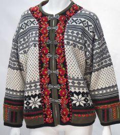 Vrikke Norwegian Irene Haugland Zahl Clasp Wool Cardigan - XS * #Vrikke #Cardigan