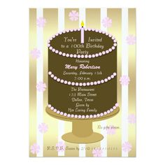 Cake 100th Birthday Party Invitation in Pink