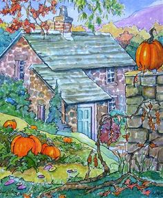 """A Cozy October Storybook Cottage Series"" - Original Fine Art for Sale - � Alida Akers"