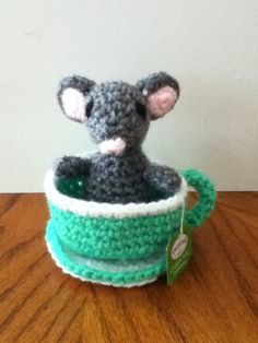 Crochet Amigurumi Little Mouse in Teacup Set by ShimmereeCreations on Etsy