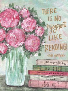 """There is no enjoyment like reading."" -Jane Austen No Enjoyment Like Reading ART PRINT - Sweet Sequels Book Pillow, Book Sleeve, Reading Art, India Ink, Antique Books, Beautiful Artwork, Fine Art Paper, Book Art, Original Artwork"
