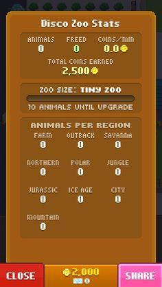 My Disco Zoo has 0 animals and earns 0.0 coins per minute!