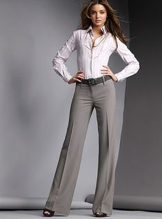 grey pants. Love the pants but the shirt is too masculine.