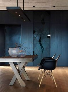 love the color and the table,,,not chairs.  Simplistic navy interior