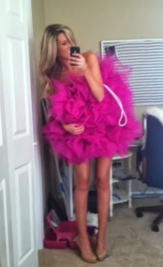 Loofah Costume DIY with lots and lots of tulle and a ribbon for the string!