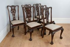 Antique English Set of 6 Chippendale Style Carved Mahogany Dining Chairs (Circa 1900) by YolaGrayAntiques on Etsy https://www.etsy.com/uk/listing/208809970/antique-english-set-of-6-chippendale