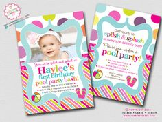Color Splash Pool Party - Polka Dot Stripe - Birthday Party Invitation (Digital File - Printed Cards Also Available) on Etsy, $18.00