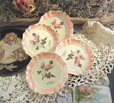 Vintage Italian Florentine Wood Coasters / Pink by AloofNewfWhimsy, $28.00