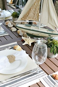 Nautical Outdoor Table Setting