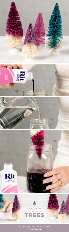 Easy dip-dyed bottle brush trees with Rit dye.