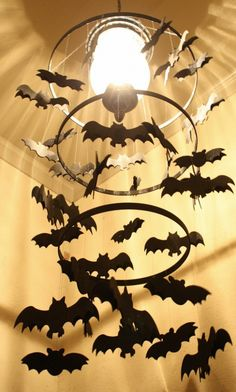 DIY Spooky Bat Chandelier