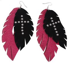 Feather earrings by Double J! These are made out of leather : )