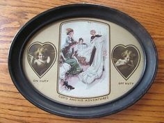 Vintage CUPIDS & HARRISON FISHER PIC. in Tin 3 Section Oval Picture Frame (03/23/2013)