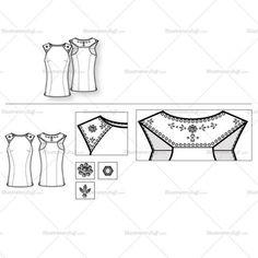 Women's Embellished Top Fashion Flat Template