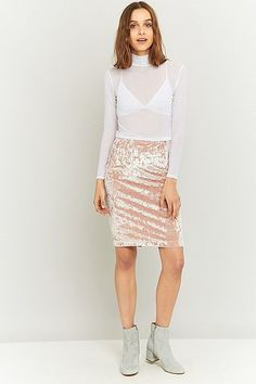 Urban Renewal Vintage Remnants Pink Velvet Pencil Skirt - Urban Outfitters
