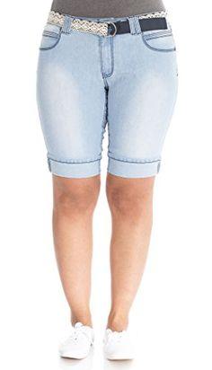 Angels Jeans Plus Light Wash Belted Denim Cuffed Bermuda - http://www.darrenblogs.com/2016/10/angels-jeans-plus-light-wash-belted-denim-cuffed-bermuda/