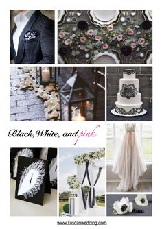 black, white and pink wedding inspirations Tuscan Wedding, Wedding Mood Board, Mood Boards, Weddingideas, Photo Wall, Wedding Inspiration, Table Decorations, Black And White, Classic