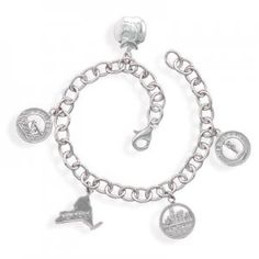 Sterling Silver New York Charm Bracelet