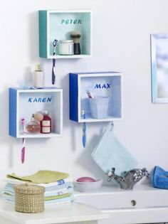 I like this idea for bathroom shelving to keep things separate :) even with his and hers idea! Bathroom Kids, Bathroom Shelves, Bathroom Storage, Bathroom Wall, Shared Bathroom, Design Bathroom, Bathroom Interior, Modern Bathroom, Bathroom Cabinets