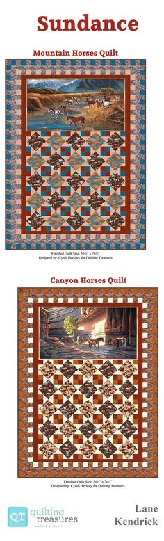 Here's a fantastic idea for using a horizontal panel in our Sundance Quilt! This free quilt project is available on our website, in two color ways of two natural wild horse scenes! The fabric is Sundance, designed by Lane Kendrick for Quilting Treasures; find it in your local quilt shop today! And the quilt was designed by Cyndi Hershey!