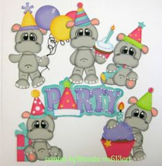 Birthday Hippo's boy girl paper piecing premade scrapbook page-Rhonda rm613art