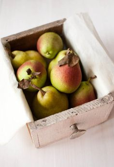 forelle pears - Pears are high in dietary fiber, low in calories and fat, lots of awesome vitamins - A, B1, B2, B3, B6, B12, C, D, and K and minerals like calcium, iron, chromium, magnesium, potassium, and zinc. So delish!
