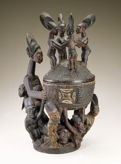 1995: National Museum of African Art acquires this bowl (Olowe of Ise, 1925). How would you describe it in 1 word? #africanartat50 #africa Olowe of Ise probably carved this lidded bowl with figures for a king or other person of high social status. Among the Yoruba such elaborately carved and decorated bowls were prestige objects used to offer kola nuts to guests or to deities during religious worship. The image of 4 dancing girls on the lid is the 1st such representation in Yoruba art.