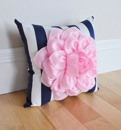 Hey, I found this really awesome Etsy listing at https://www.etsy.com/listing/271823352/baby-pink-flower-pillow-navy-stripe