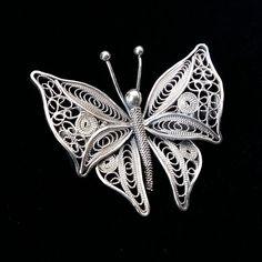 Silver Ring With Pearl Filigree Jewelry, Metal Clay Jewelry, Butterfly Jewelry, Delicate Jewelry, Wire Jewelry, Sterling Silver Jewelry, Jewelry Gifts, Handmade Jewelry, Golden Jewelry