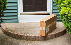 Package left on stoop by front door. A brown cardboard box is left on the front , Medicine Journal, Cardboard Packaging, Support Small Business, Recycling Bins, How To Stay Healthy, At Least, Delivery, Canning, Outdoor Decor