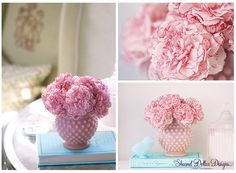 pink carnations in pink depression glass